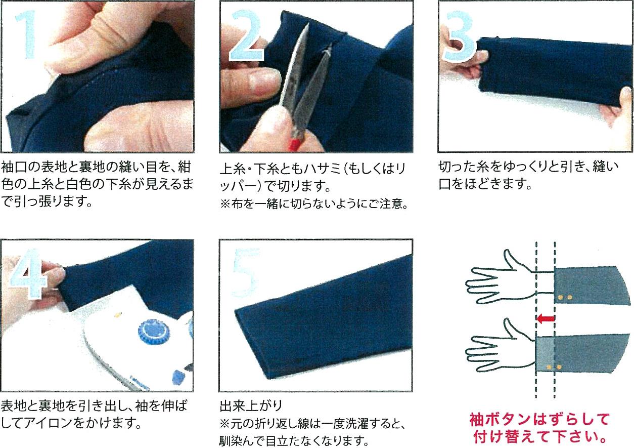 袖丈の伸ばし方
